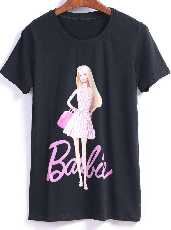 Barbie Print Loose Black T Shirt