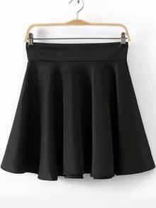 Hohe Taille Faltenrock-schwarz