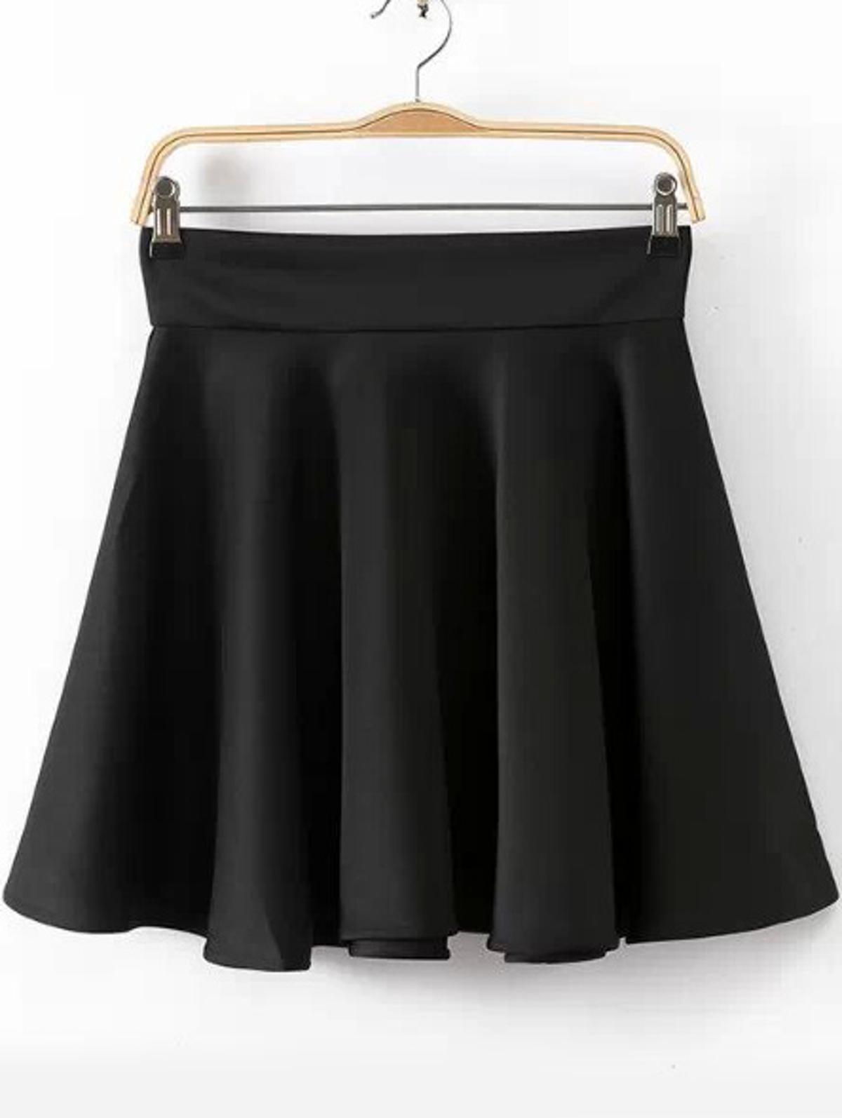 黑色 高腰 打褶裙子
