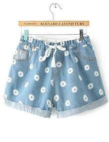 Drawstring Cuffed Flower Print Blue Denim Shorts