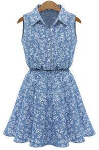 Lapel Sleeveless Pastel Floral Print Denim Dress