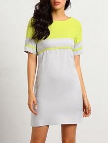With Zipper Shift Neon Yellow Dress