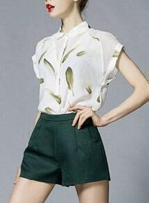 Lapel Short Sleeve Feather Print Top With A-Line Shorts