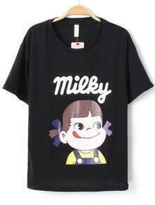 Black Short Sleeve Girl Print Loose T-Shirt