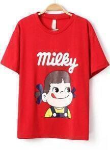 Red Short Sleeve Girl Print Loose T-Shirt