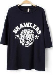 Navy Short Sleeve BRAWLERS Tiger Print T-Shirt