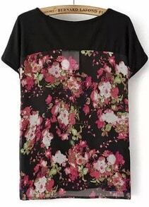Black Short Sleeve Floral Chiffon T-Shirt