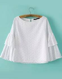 White Boat Neck Embroidered Loose Blouse