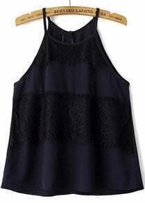 Navy Spaghetti Strap Lace Chiffon Vest