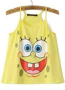 Yellow Spaghetti Strap SpongeBob Print Vest