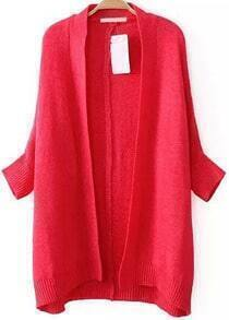 Red Batwing Long Sleeve Knit Cardigan