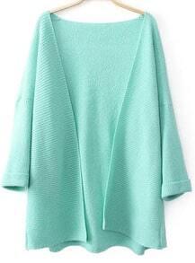 Green Long Sleeve Loose Knit Cardigan