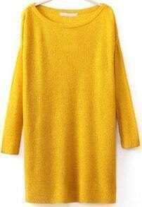 Yellow Long Sleeve Split Knit Sweater