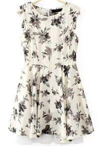 Beige Sleeveless Floral Asymmetrical Dress