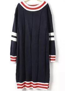Navy Round Neck Striped Sweater Dress