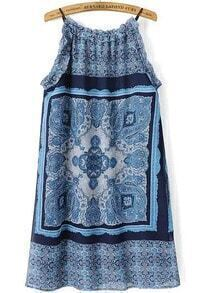 Blue Spaghetti Strap Floral Straight Dress