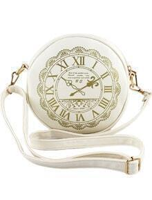 White Clock Print PU Leather Bag