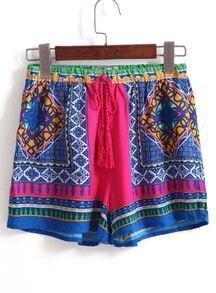 Drawstring Vintage Print Shorts