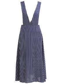Deep Plunge Neck Vertical Striped Blue Dress