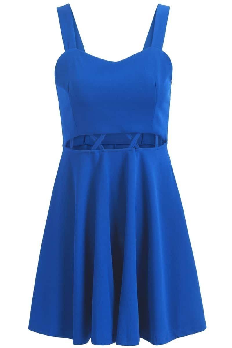 Spaghetti Strap With Zipper Hollow Blue Dress - $15.17