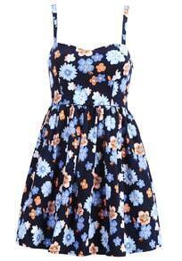Spaghetti Strap Florals Pleated Blue Dress