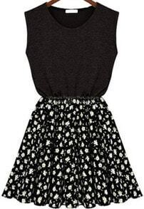 Sleeveless Floral Chiffon Black Dress