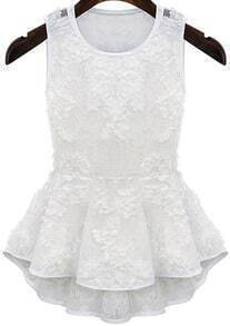 Sleeveless Ruffle Lace White Blouse