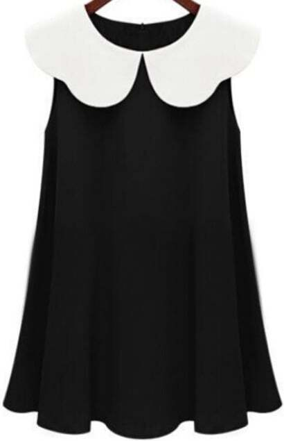 Contrast Collar Ruffle Loose Black Dress pictures