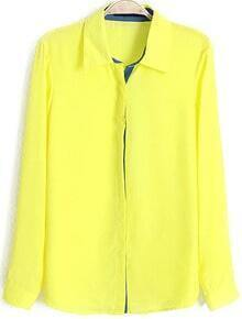 Lapel With Buttons Chiffon Neon Yellow Blouse