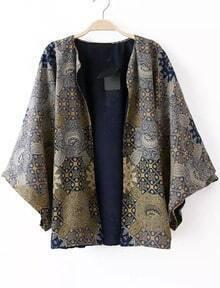 Vintage Print Loose Kimono