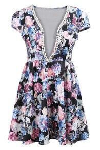 With Pearl Deep Plunge Neck Florals Dress