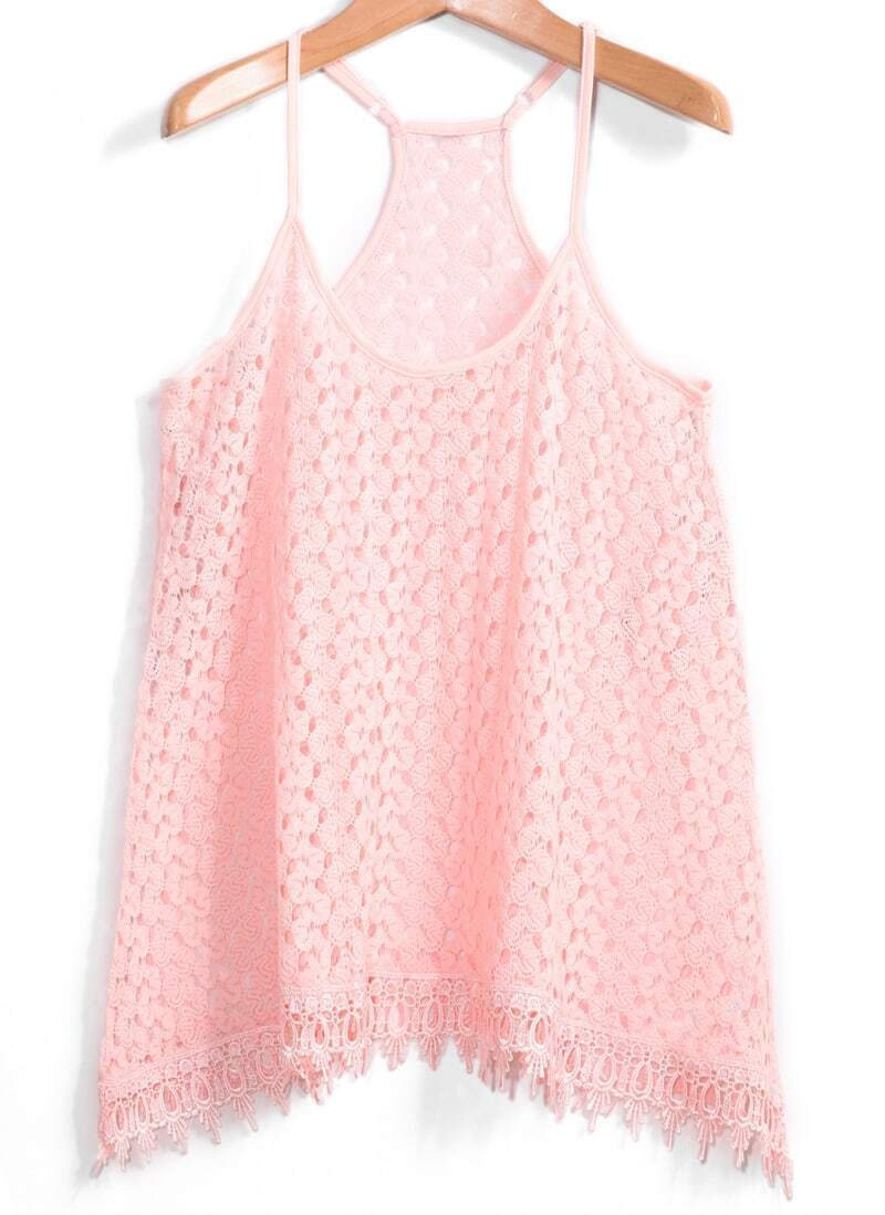 Y-Back With Tassel Floral Crochet Pink Cami Top