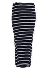 With Split Striped Black Skirt