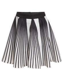 Vertical Striped Flare White Skirt