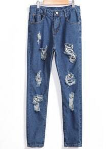 With Button Ripped Denim Slim Pant