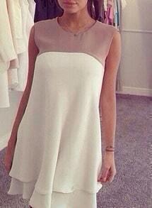 Colour-block Sleeveless Ruffle Dress
