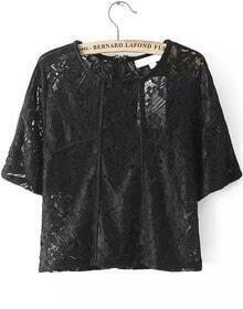 With Zipper Lace Embroidered Black Top