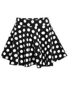 Polka Dot Flare Black Skirt
