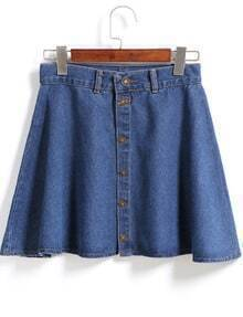 With Buttons Pleated Denim Skirt