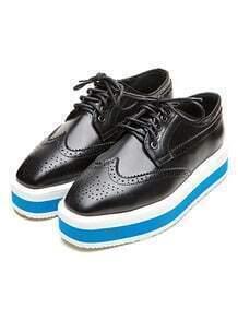 Black Square Toe Lace Up Flat Shoes