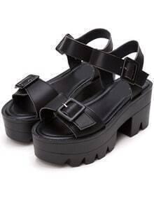 Black Buckle Strap Platform Sandals