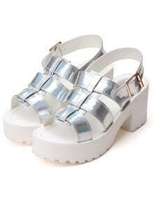 Silver Buckle Strap Platform Sandals