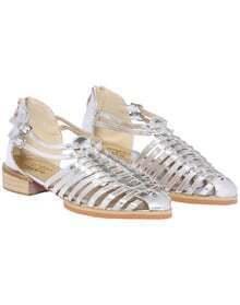 Silver Zipper Slingbacks Flat Shoes