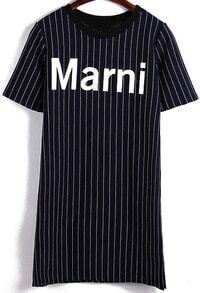 Vertical Striped Letter Print T-shirt