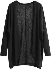 Black Long Sleeve Loose Knit Cardigan