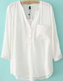 V Neck With Pocket White Blouse