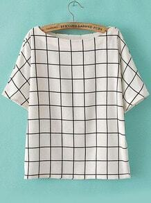 Top en mousseline plaid col bateau -blanc
