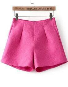 With Zipper Jacquard Red Shorts