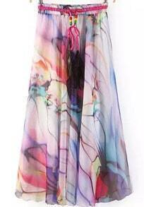 Drawstring Florals Pleated Pink Skirt