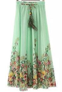 Drawstring Florals Pleated Pale Green Skirt